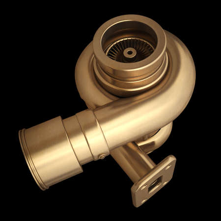 3D collection of gold objects. Steel turbocharger  isolated on black background. High resolution