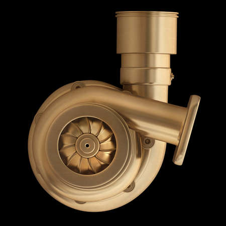 3D collection of gold objects. Steel turbocharger  isolated on black background. High resolution  photo