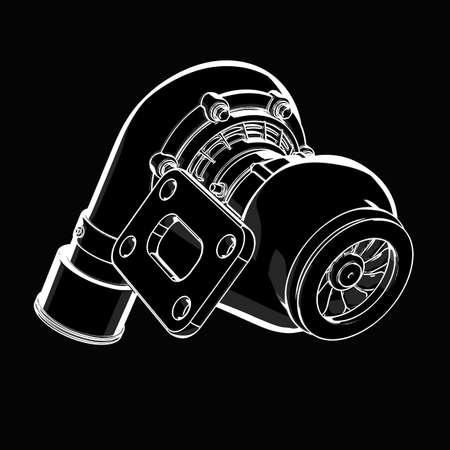 turbocharger. black cartoon illustration outline. High resolution 3D