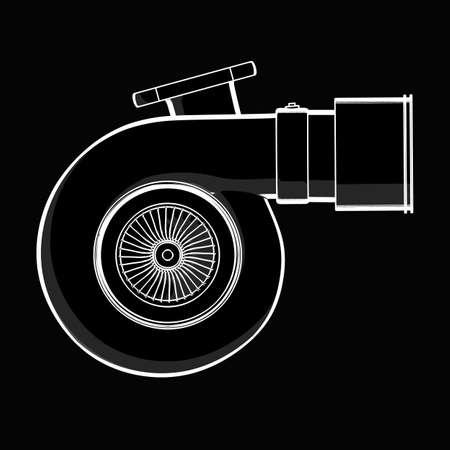 turbocharger: turbocharger. black cartoon illustration outline. High resolution 3D