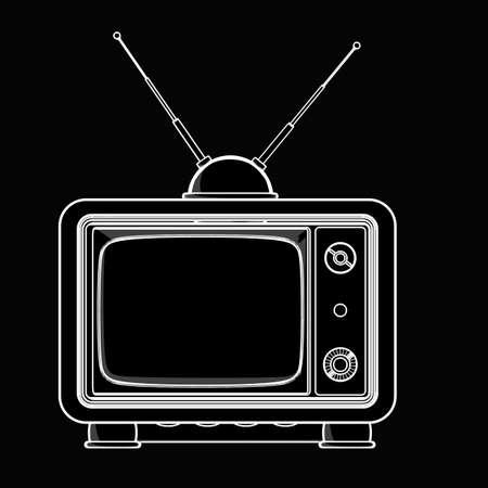 vintage TV. black cartoon illustration outline. High resolution  Stock Photo
