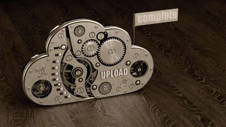 upload list. Close up cloud with gears. technology abstract background. High resolution 3d  photo