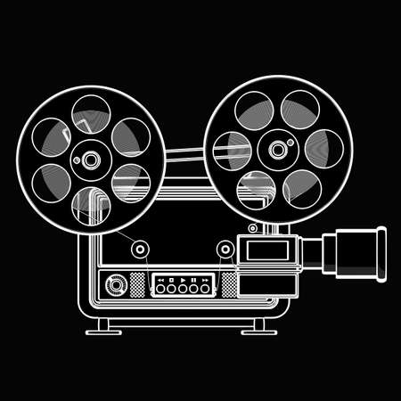 super cross: old-fashioned cinema projector. black cartoon illustration outline. High resolution 3D