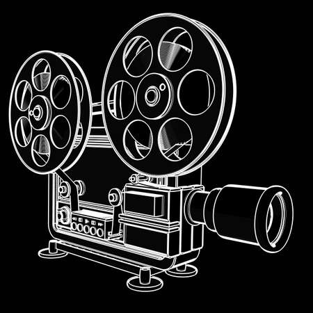 super cross: old-fashioned cinema projector. black cartoon illustration outline. High resolution 3D