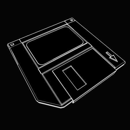 Magnetic floppy disc. black cartoon illustration outline. High resolution 3D