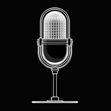 Retro microphone. black cartoon illustration outline. High resolution