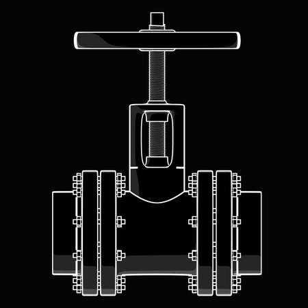 cad drawing: valve. black cartoon drawing illustration outline. High resolution  Stock Photo