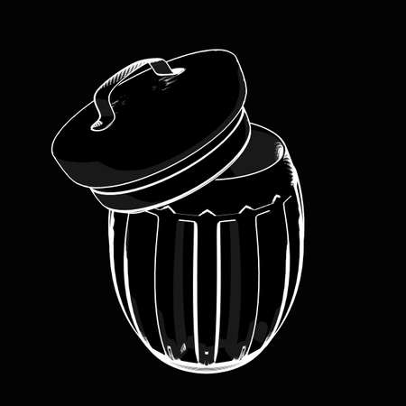 trash can. cartoon illustration outline. High resolution 3D
