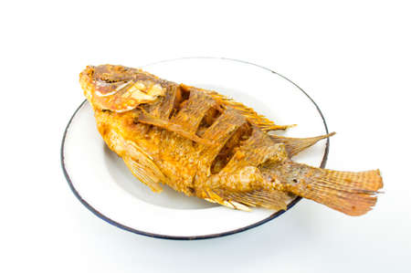 Fried fish on a plate photo