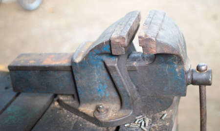 Table old vise clamp photo