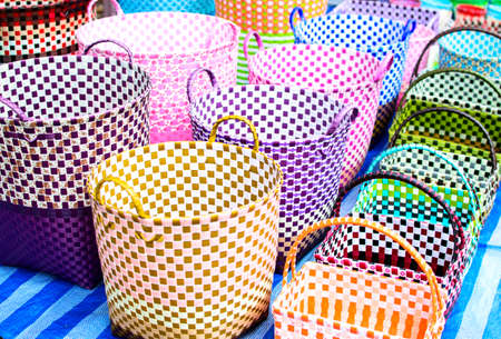 Colored Baskets at an Outside Market