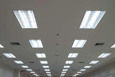 high ceiling: Lights from ceiling Stock Photo