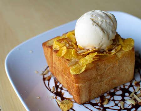 Toast Bread with ice cream photo