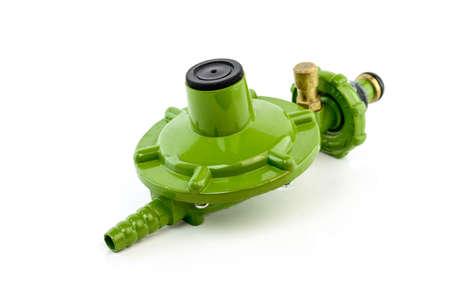 regulator: Gas valve regulator isolated on white background Stock Photo