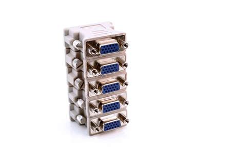 converter: VGA to DVI display converter on white background Stock Photo