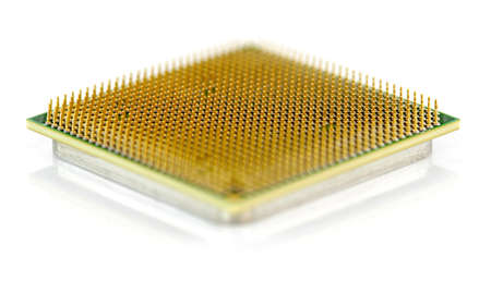 computer cpu: old computer CPU close up shot from below