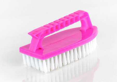 broom handle: Cleaning brushes with handle Stock Photo