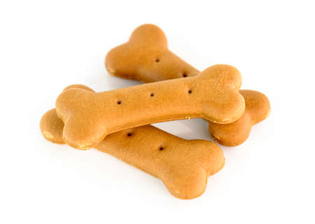 Dog food biscuit shaped like bones