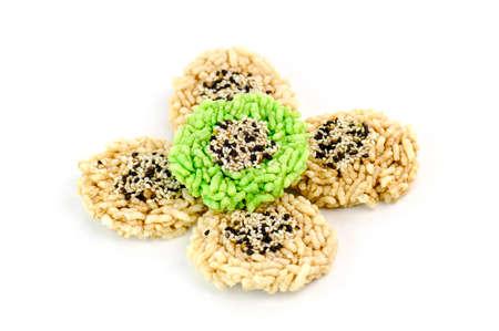 sesame cracker: Rice cracker with sesame isolated on white background Stock Photo