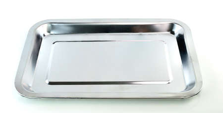 Empty silver tray on white background Stock Photo