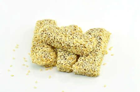white sesame seeds: knead sticky white sesame seeds on white