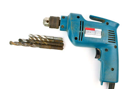 tinkering: Used Drill-screwdriver with drills isolated on white background