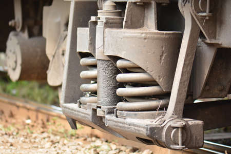 shock absorber: Close Up of Train Shock Absorber and Spring
