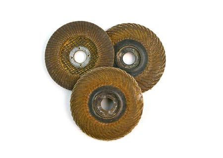 disks: Used abrasive disks isolated on white background Stock Photo