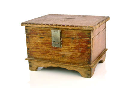 hoard: antique wooden chest on white background Stock Photo