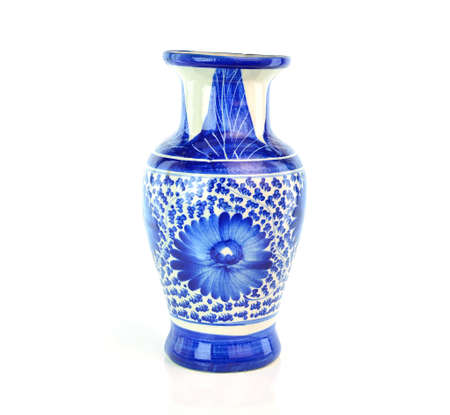 antique vase: Old chinese antique vase on the white background