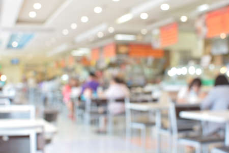restaurant dining: abstract blurred food court and people Stock Photo