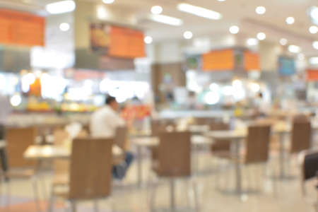 food court: abstract blurred food court and people Stock Photo