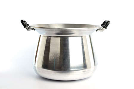 stainless steel pot: Stainless steel pot on white