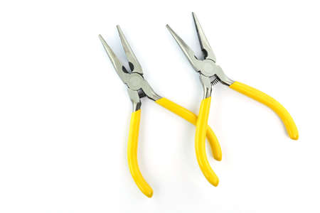 fix jaw: yellow pliers on a white background Stock Photo