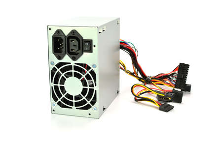 power supply: computer power supply on white background Stock Photo