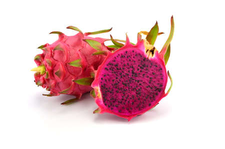 the red dragon: Dragon Fruit isolated on white background. (Pitaya Fruit) Stock Photo