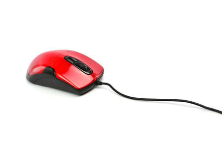 Red computer mouse on white background Banco de Imagens