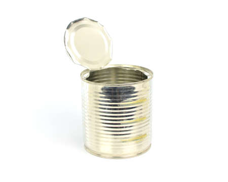 Open an empty tin can on white background Imagens