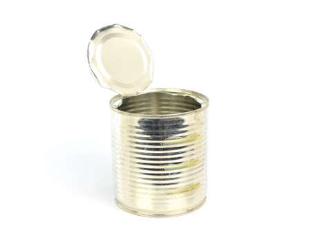 Open an empty tin can on white background Stockfoto