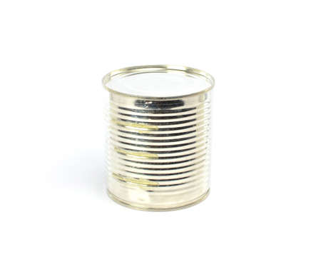 tinned goods: silver tin can on a white background Stock Photo