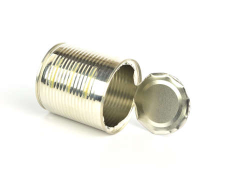 pulltab: Open an empty tin can on white background Stock Photo