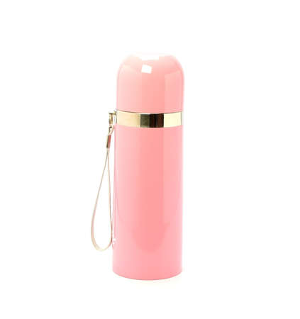 insulated drink container: Pink Thermo flask on the white background