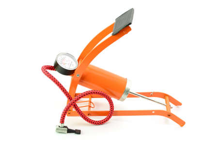 gage: Foot pump with pressure gage on white background