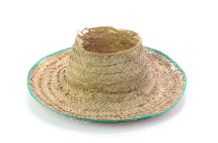 wicker work: Thai farmer Old hat made of woven bamboo on white background