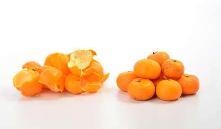 orange peel skin: Orange fruit and orange peel isolated on white background