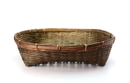 log basket: Empty basket on white background