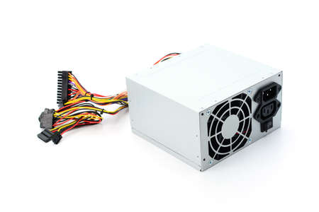 power supply: Computer Power Supply Isolated On White Background
