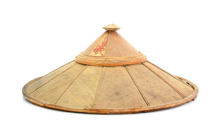 conical: old chinese conical straw hat isolated on white Stock Photo