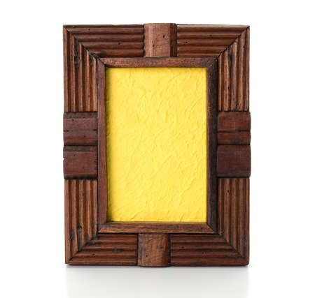 tableau: Vintage wooden picture frame on  white background