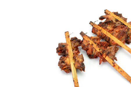 skewer: grill chicken skewer isolated on white background Stock Photo